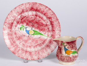 Red spatter peafowl plate, etc.