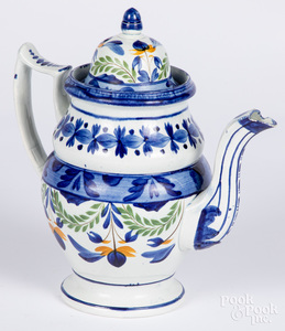 Pearlware coffee pot, etc.