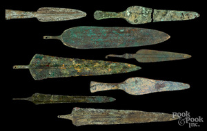 Eight Luristan bronze spear and dagger blades