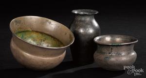 Three Greek silver vessels