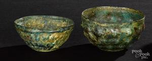 Two Roman bronze bowls