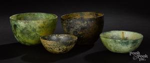 Four ancient Near Eastern bronze bowls
