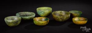 Seven ancient Near Eastern bronze bowls