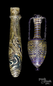 Greek glass core-form vessel, etc.