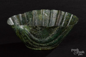 Roman bronze scalloped vessel