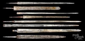 Eight European steel sword blades
