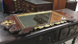 Chippendale mahogany and giltwood looking glass