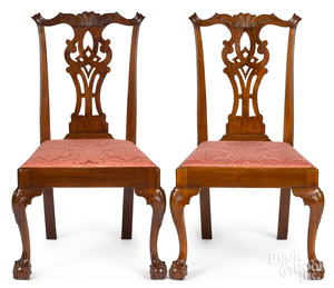Pair of New York Chippendale dining chairs