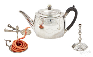 English silver teapot, wax jack and taperstick