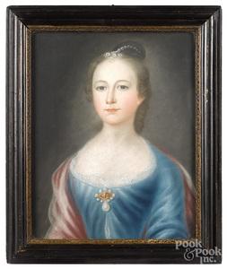 John Saunders I, pair of pastel portraits