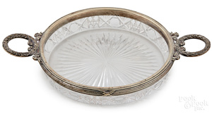 Russian Faberge silver mounted cut glass bowl