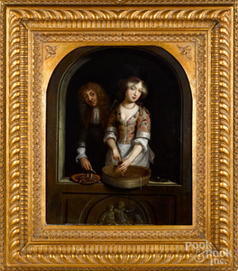 Manner of Gerrit Dou, oil of a man and woman
