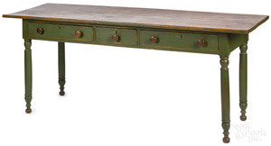 New England painted basswood work table
