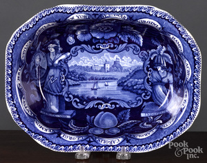 Historical Blue Staffordshire vegetable dish