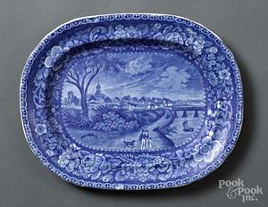 Historical Blue Staffordshire Columbus platter