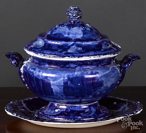 Historical Blue Staffordshire tureen and undertray