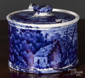 Historical Blue Staffordshire mustard pot