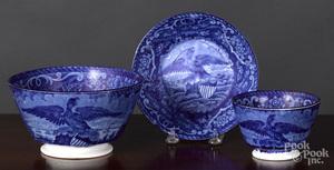 Historical Blue Staffordshire waste bowl, etc.
