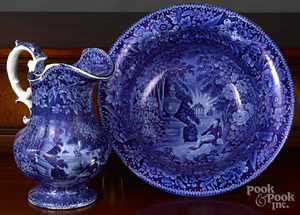 Historical Blue Staffordshire pitcher and basin