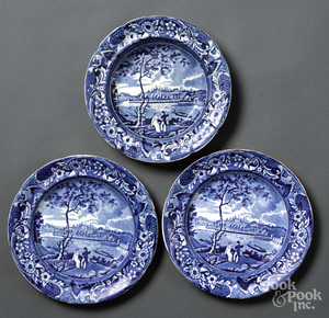 Historical Blue Staffordshire bowl and plates