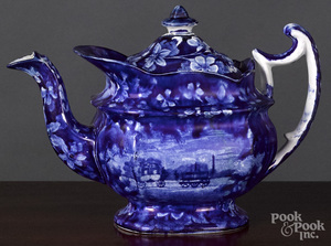 Historical Blue Staffordshire railroad teapot