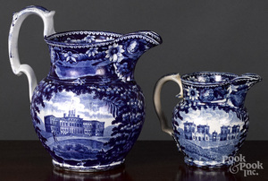 Historical Blue Staffordshire pitcher and creamer