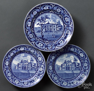 Three Historical Blue Staffordshire plates