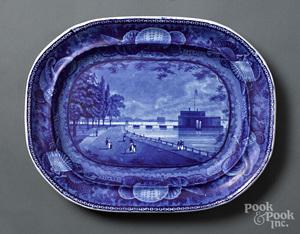 Historical Blue Staffordshire New York platter
