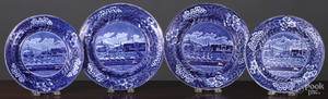 Four Historical Blue Staffordshire plates