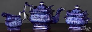 Historical Blue Staffordshire teapot, etc.