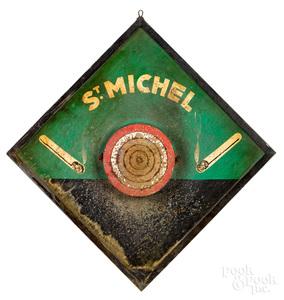 French St. Michel Cigarette advertising dart board