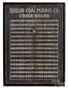 Painted pine Shuler Coal Mining Co. Check Board