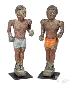 Pair of painted iron boxers