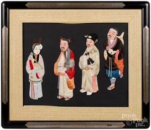 Four Chinese painted silk figural cards