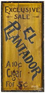 El Plantador Cigar double sided trade sign