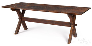 Pine and chestnut trestle table