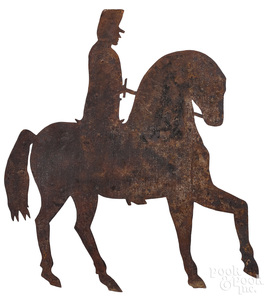 Sheet iron horse and rider weathervane
