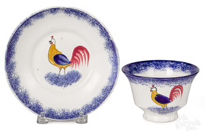 Blue spatter rooster cup and saucer