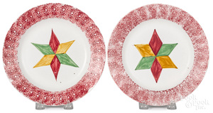 Two red spatter plates