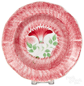 Red spatter thistle shallow bowl