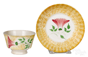 Yellow spatter thistle cup and saucer