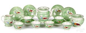 Green spatter peafowl tea service