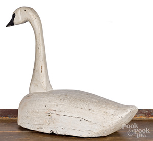 Carved and painted swan decoy