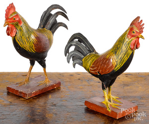 Pair of painted composition and wood roosters