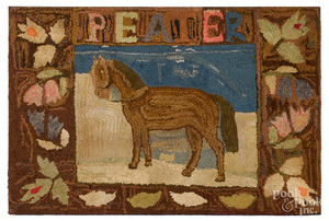 American hooked rug of a horse