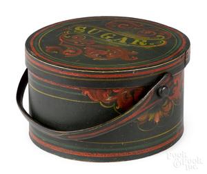 New England painted bentwood sugar box