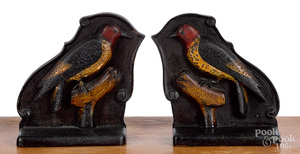 Pair of carved and painted woodpecker bookends