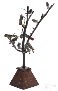 Large German carved and painted bird tree