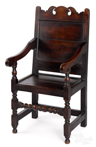 William and Mary oak wainscot armchair