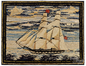 Hooked rug, with an American ship